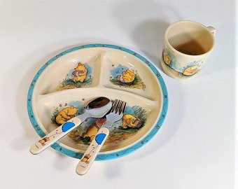 Free Shipping Disney Complete Winnie The Pooh Plate Cup Fork and Spoon Set Vintage Selandia Santa Clara CA Child's Melamine Tableware