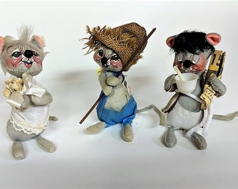 3 Annalee Dolls Bride Sleepy Commuter Fishing Mouse Vintage