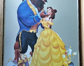 Vintage Beauty and the Beast Mirror with Cut Out of B & B Poster Rare Beauty and Beast Memorabilia