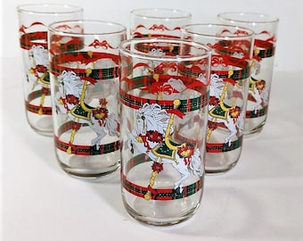 Christmas Tumblers House of Lloyd's Carousel Horses 12 oz. Holiday Table Ware