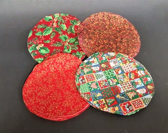 Christmas Fabrics Precut Round Reds with Green and Gold Jar Top Covers Quilting Scraps Crafting Cotton Not Prewashed Free Shipping