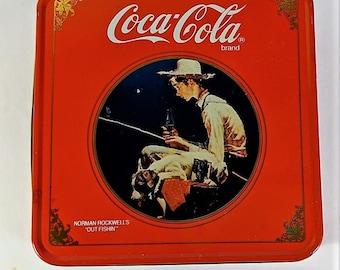 "Coca Cola Tin with Norman Rockwell's ""Out Fishin"" Tin Held Men's Handkerchiefs"