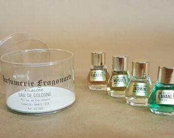 Vintage Eau de Cologne from Fragonard Grasse France Four Full Bottles French Perfume Lavande Muguet Violette Jasmin with Cello Case