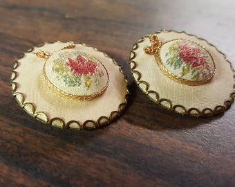 Lovely Retro Petit Point Clip Earrings from the 50's