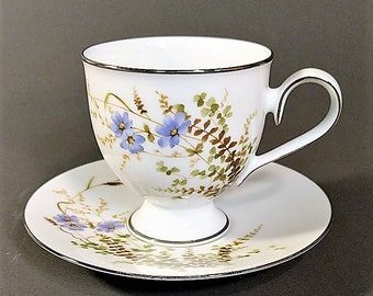Free Shipping for Noritake Ireland Edenderry Teacup and Saucer Fine Porcelain Platinum Trim
