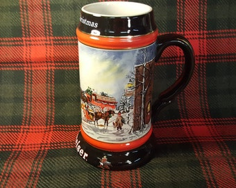 "Christmas Budweiser Beer Mug 1992 Collector's Series ""A Perfect Christmas"" Clydesdale's 8-Horse Hitch Wagon by Susan Sampson"