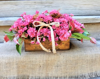 Wooden Cream Cheese Box with Fall Pink Mums Country Home Decor Vintage Dovetailed  and Greenery Handmade Flower Arrangement With Burlap