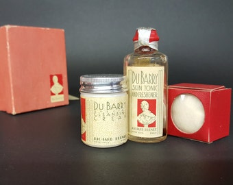 Vintage Beauty Products 1930s Skin Toner Cleansing Cream Cotton Ball Richard Hudnut for the DuBarry Line