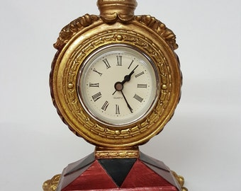 Retro Mantel Clock Jester Motif Clock Composition Maroon Black and Gold Colored Working Ornate Clock Collectible Clock