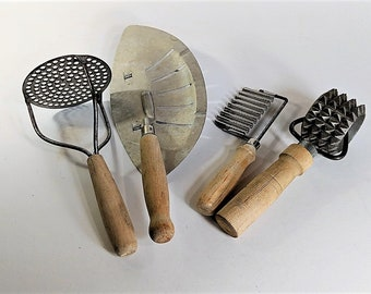 Wooden Handled Vintage Kitchen Tools Potatoe Masher, Strainer, Vegetable Slicer and Meat Tenderizer Kitchen Decor Kitchen Memorabilia
