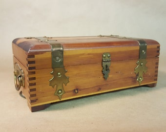 Wooden Jewelry Box Hanky Box by Pilliod of Swantown Ohio Pine with Decorative Brass Fittings Fancy Handles Fabric Covered Inside with Mirror