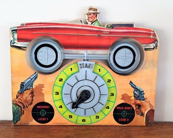 Vintage 1963 Game from Transogram Co. Shooting Getaway Criminal Skill and Action Game Board Only No Box Spinning Wheels GameToy Room Decor