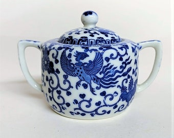 Chinoiserie Sugar Bowl with Lid Blue Phoenix Made in Japan Early 20th Century No Chips or Cracks