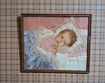 Victorian Craft Baby Art Collage Half Price from 80.00  Silk Fabric Lace Knitted Yarn Detail Vintage Craft Nursery Deco Baby Shower Gift