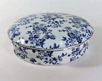 Chinoiserie Lidded Bowl with Blue Chintz Like Pattern Silver Bead Around Rim of Lid and Bowl Eternal Rose Collelction Vintage Bowl