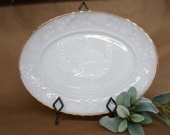 Milk Glass Platter for Turkey Holiday Thanksgiving Christmas or Easter Anchor Hocking Ovenproof
