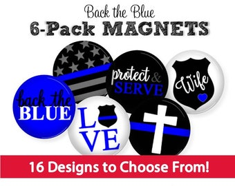 Law Enforcement Magnets - LEO Wife Gift - Police Scrapbook Flair - Gift for Cops - LEO Mom Gift - Stocking Stuffer - Back the Blue