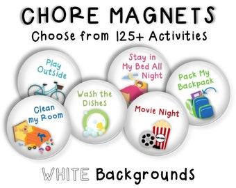 Chore Magnets • Chore Chart • Activity Chart • Kids Chores • Daily Routine Magnets • Cookie Sheet Chore Chart • Childrens Job Chart • WHITE