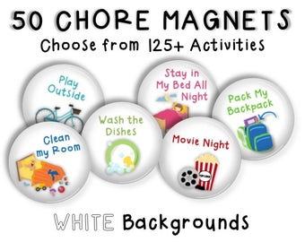 Chore Magnets • SET OF 50 • Chore Chart • Activity Chart • Kids Chores • Daily Routine • Cookie Sheet Chore Chart • Job Chart • WHITE