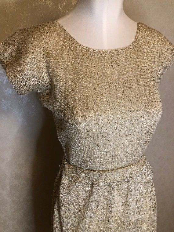 1950s Knitted dress set // lurex dress set // gold