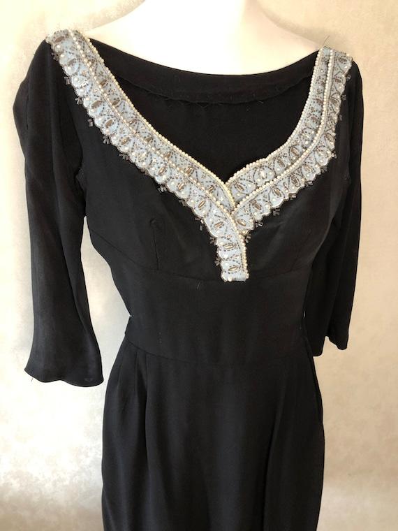 1950's true vintage beaded crepe dress XS