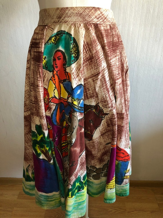 True Vintage 1950s Mexican hand painted skirt