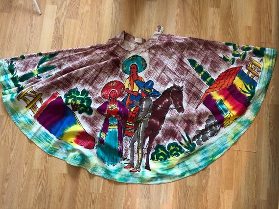 1950s Mexican hand painted skirt
