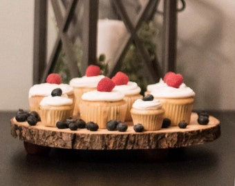 Wood Slice Dessert Stand or Cupcake Stand for Rustic Wedding, Birthday, Party, etc.