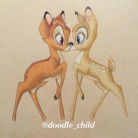 Articoli Simili A Bacio Di Bambi Di Disney Disegno Stampa Su Etsy