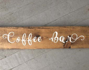 Coffee Bar Painted Wood Sign