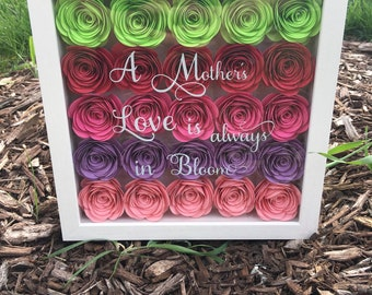 Flower Shadow Box - A Mother's Love is always in Bloom