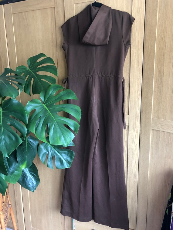 Vintage 70s Chocolate coloured jumpsuit with Hood - image 4