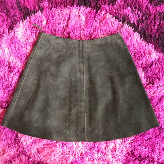 Vintage 60s Forest Green Suede Mini Skirt W26