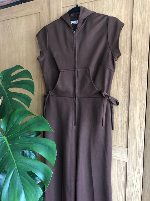 Vintage 70s Chocolate coloured jumpsuit with Hood - image 2