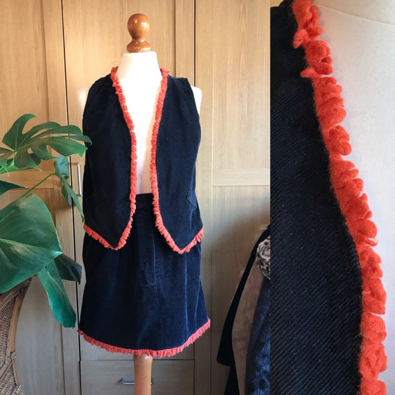 Vintage 70's Cord Two piece skirt suit with orange