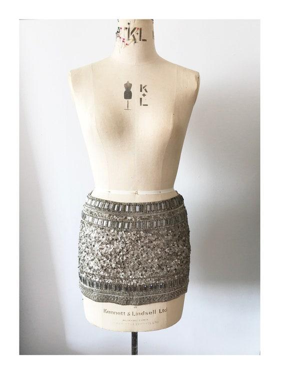 Brand new All Saints Gold beaded mini skirt