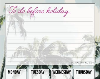 To do before holiday - Printable weekly planner