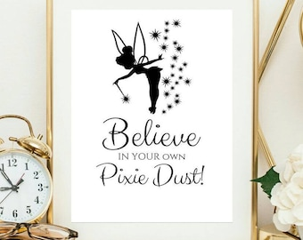 Tinkerbell tinker bell peterpan peterpan quote peter pan pixie dust tinkerbell tinker bell peterpan peterpan quote peter pan quotes peterpan print gift for her gift for daughter voltagebd Choice Image