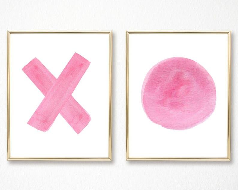 Superb X And O Print Pink Wall Art Abstract Art Brushstroke Art Modern Art Contemporary Art Teen Room Decor Wall Art Set Of 2 Prints Print Download Free Architecture Designs Ogrambritishbridgeorg