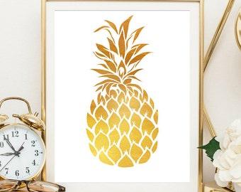 pineapple wall art, gold bedroom decor, wall art, gold pineapple, pineapple art, pineapple decor, pineapple prints, pineapple wall print