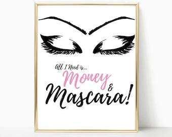 lashes print, makeup decor, wall decor, mascara, makeup art, best friend gift, eyelashes print, wall art, gift for girls, vanity decor