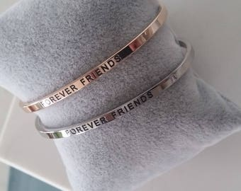 Mantra Cuff Bracelet Silver or Rose Gold Stainless Steel -  Engraved Message of Inspiration and affirmation