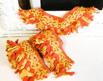 Vintage trim orange yellow sewing craft retro mod decor midcentury funky pillow