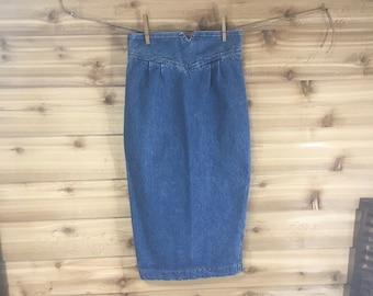 50e4cc104 Vintage denim skirt Zena retro long ladies size 9 funky mod blue jean  clothing