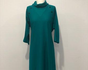 Blair Turquoise Shirt Waist Dress with Belt Rhinestone Flounce Neck Vintage 1970/'s Puffy Shoulder Sheer Sleeves
