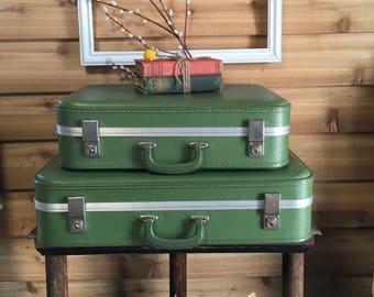 Two Vintage Green Nesting Suitcases with Key , Stacking suitcases ,  luggage , travel , home decor , retro , traincase sold seperate