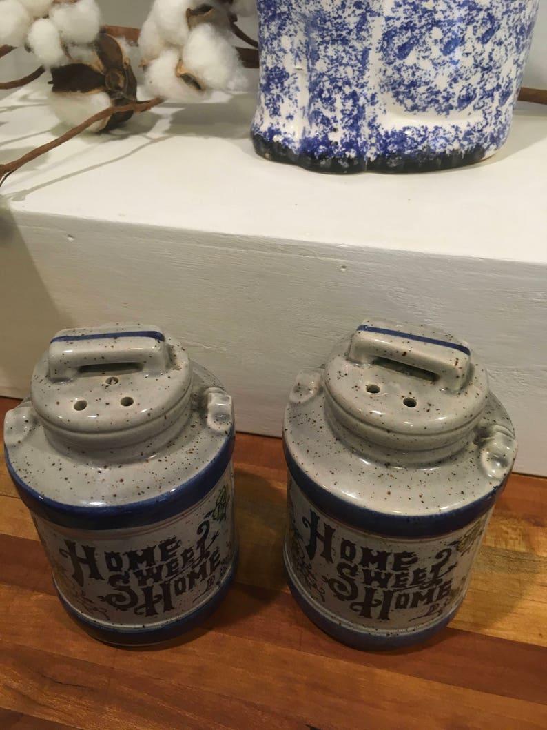 Vintage salt pepper shaker Japan home sweet home decor blue grey farmhouse country gift holiday retro wedding