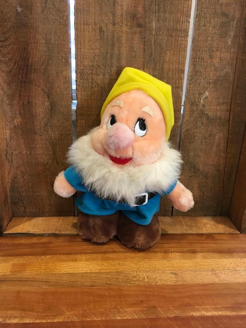 Vintage Snow White seven dwarfs stuffed animal happy 50 anniversary Disney Sears toy decor collector 10 inch retro toy gift sears