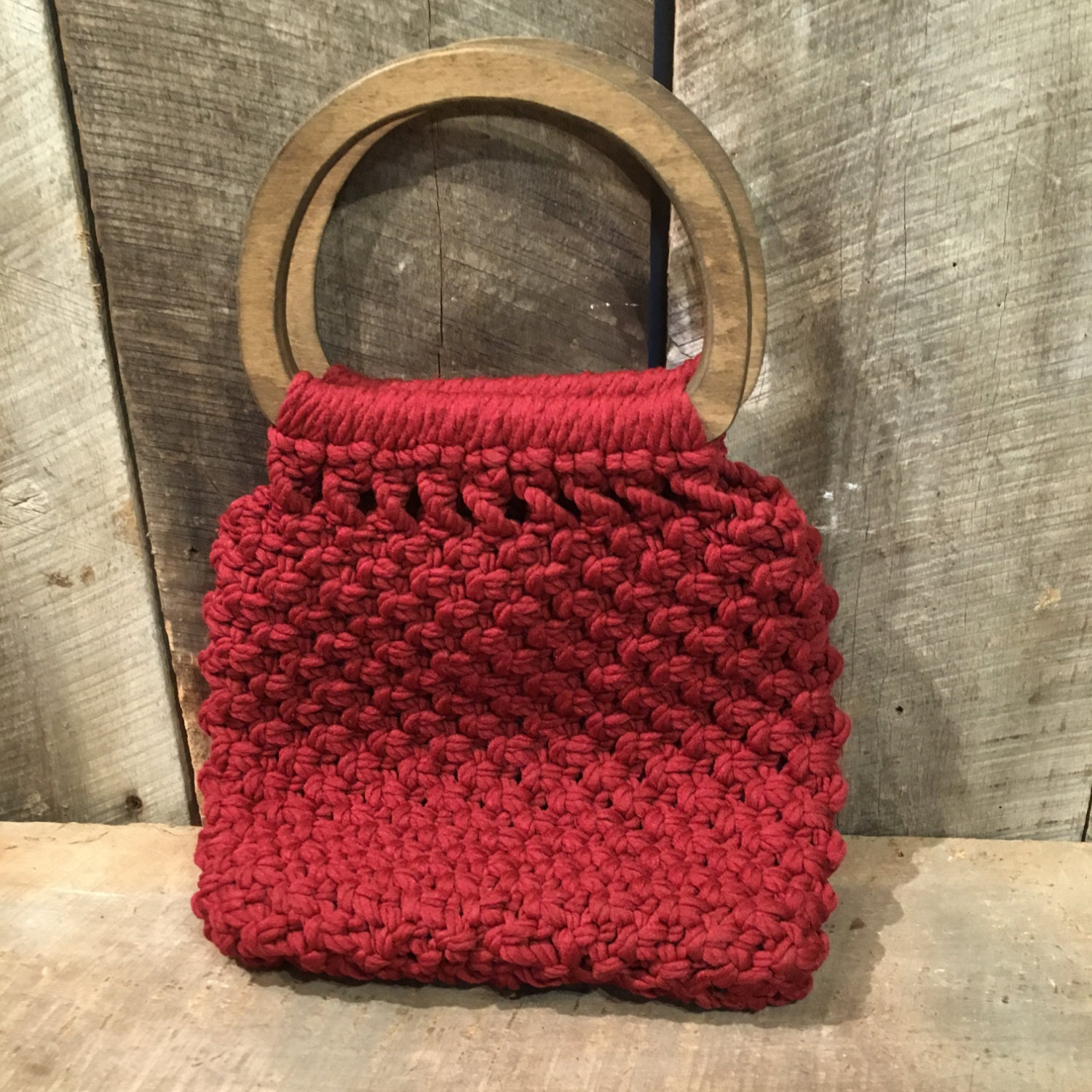 Vintage Crochet Pursemacrame Purse Wood Handle Purse Etsy