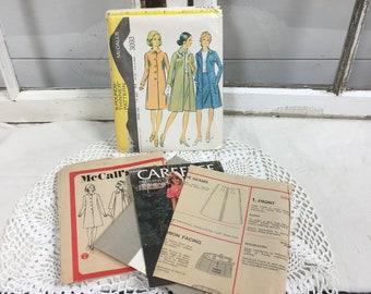 Vintage sewing pattern McCall's coat skirt retro mod craft 3093 size 12 retro decor paper